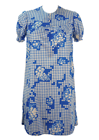 Vintage 1960's Unworn Blue Smock Mini Dress with Polka Dots & Flowers - S/M