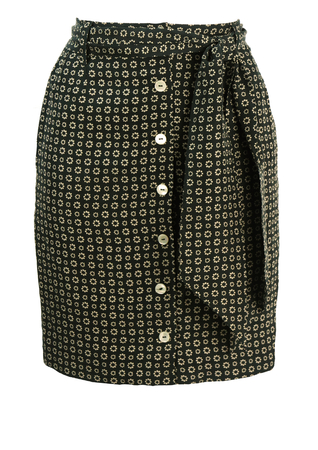 Silk Mini Pencil Skirt with Taupe & Black Daisy Foral Pattern - S