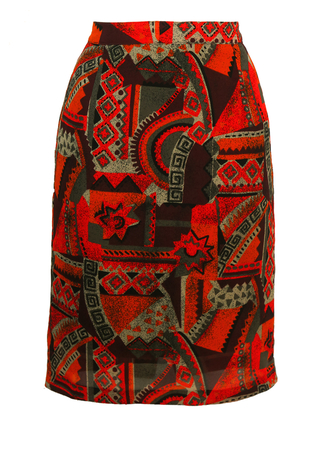 Knee Length Pencil Skirt with Orange & Burgundy Abstract Graphic Print - S/M