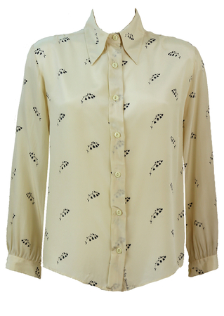 Cream Silk Blouse with Navy Blue Floral Pattern - L