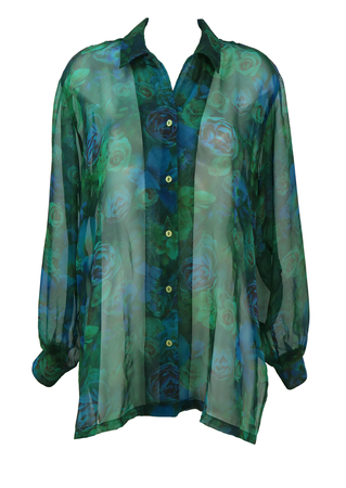 Sheer Blouse with Photographic Rose Print - M/L
