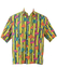 Acid Yellow Striped Short Sleeved Shirt with Fruit Graphic Print - L/XL