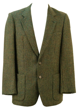 Pure New Wool Brown, Blue & Grey Striped Tweed Jacket - M