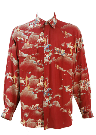 Dark Red Western Shirt with Cowboys & Indians Print - L/XL