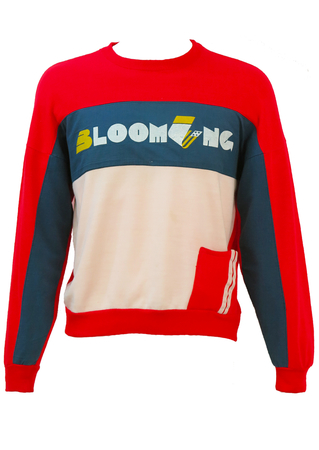 Red, White & Blue Sweatshirt with 'Blooming' Motif - M/L