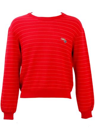 Red & White Fine Striped Sweatshirt - M/L