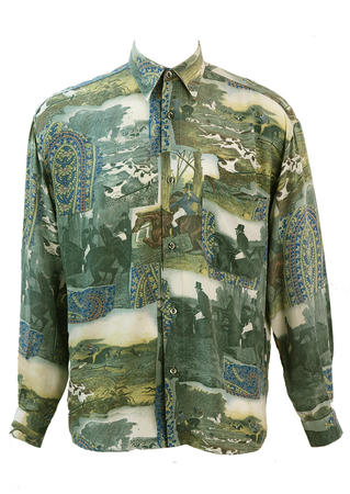 Vintage 1990's Horse & Hound Victorian Hunting Themed Shirt - M/L