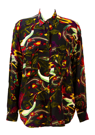Armani Jeans Oversized Shirt with Multicoloured Tropical Bird Print - M/L