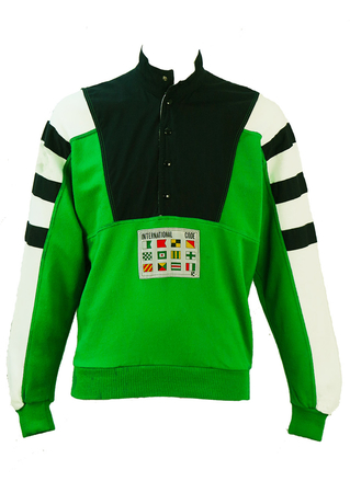 Green, White & Navy Blue Sweatshirt with Striped Sleeves & Flag Motif - M/L