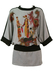 Batwing Top with Waistband Detail Featuring 1920's Fashion Imagery - M