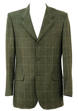 Pure Wool Green & Grey Check Blazer - M