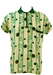 Short Sleeved Zip Front Shirt with Abstract Spots & Stripes Pattern - XL