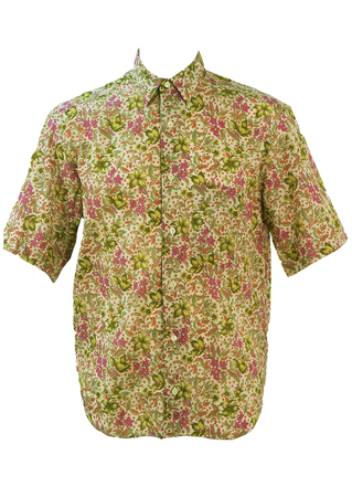 Floral Patterned Short Sleeved Shirt in Taupe, Green & Purple - M/L