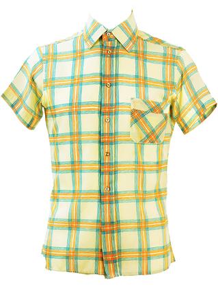 Cream Short Sleeved Shirt with Orange & Blue Check Pattern - S/M