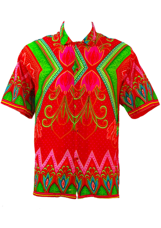 Multicoloured African/Batik Pattern Short Sleeved Shirt - M/L