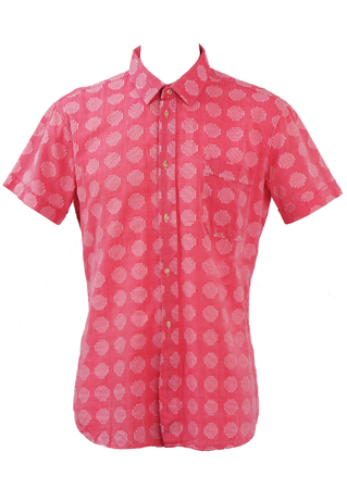 Soft Red Short Sleeved Shirt with White Stitch Graphic Pattern - L