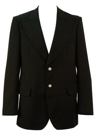 Vintage 70's Diagonal Pinstripe Black Blazer - M