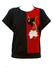 Black Top with Red Mesh Detail & Applique Floral Pattern - M