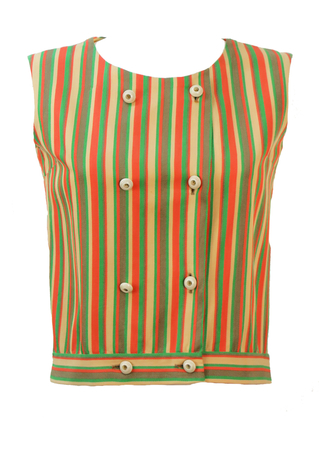 Vintage 1960's Double Breasted Pink, Green & Cream Striped Top - M