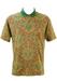 Burgundy, Blue & Ochre Paisley Print Polo Shirt - M/L