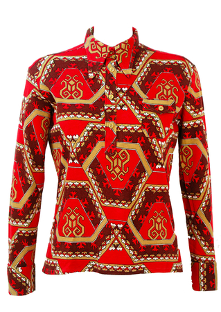 Vintage 70's Button Front Top with Red, Burgundy & Camel Geometric Print - M