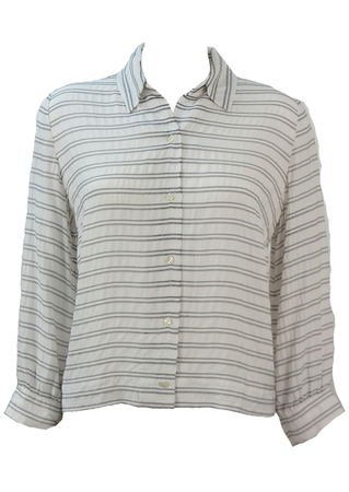 White Textured Blouse with Fine Black Stripe Detail - L