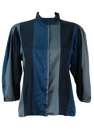 Genny Silk Blouse with Block Stripes in Blue, Navy and Grey - M/L