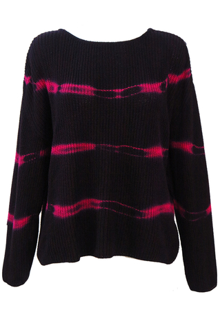 Jean Paul Gaultier Brown & Pink Tie Dye Striped Cable Knit Jumper - M/L