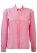 Pink Polka Dot Textured Blouse with Striped Bib Detail - M