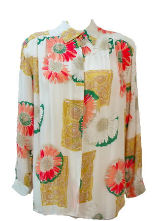 Vintage 1990's White Oversized Shirt with Pink, Peach & Green Floral Pattern - L/XL