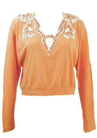 Vintage 80's Peach Batwing Top with Raffia Floral Embroidery & Mesh Detail - M
