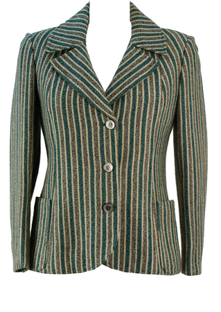 Vintage 60's Striped Jersey Jacket - M
