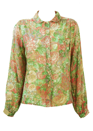 Floral Patterned Long Sleeved Blouse with Peter Pan Collar - M/L