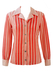 Vintage 70's Blouse with Red and White Polka Dots and Stripes Pattern - M