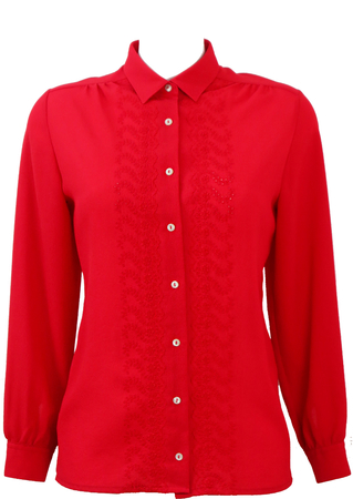 Red Long Sleeved Blouse with Broderie Anglaise Floral Pattern - M