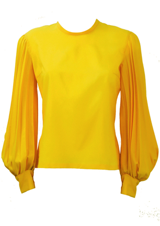 Vintage 60's Yellow Blouse with Pleat Detail Balloon Sleeves - M