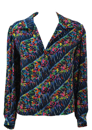 Vintage 60's Navy Blue Blouse with Multicoloured Striped Abstract Print - L