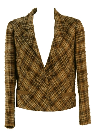 Textured Wool & Alpaca Autumnal Check Jacket - M