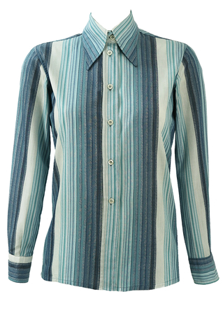 Vintage 70's Blue, Grey and White Striped Shirt - S/M