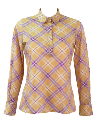Long Sleeved, Button Front Camel Blouse with Purple & White Check - S/M