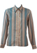Vintage 70's Light Brown Blouse with Blue Geometric Striped Pattern - L
