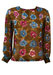 Brown Sheer Blouse with a Blue & Purple Floral Design - M