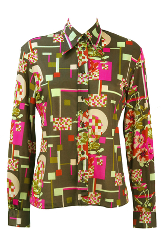 Vintage 70's Brown Blouse with Pink & Green Floral Geometric Print - M