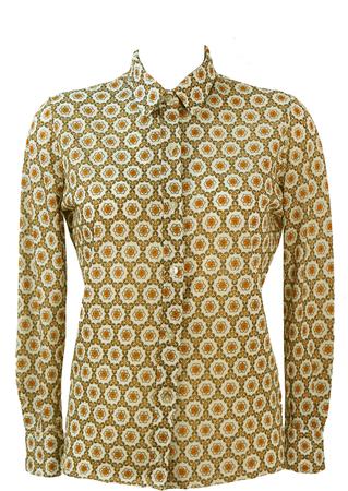 Vintage 60's Orange, Brown & White Blouse with Geometric Floral Pattern - M