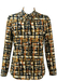 Long Sleeved Blouse with a Brown, Olive, Black & Cream Abstract Print - M