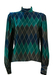 Silk Blouse with Blue, Jade and Grey Harlequin Pattern - M