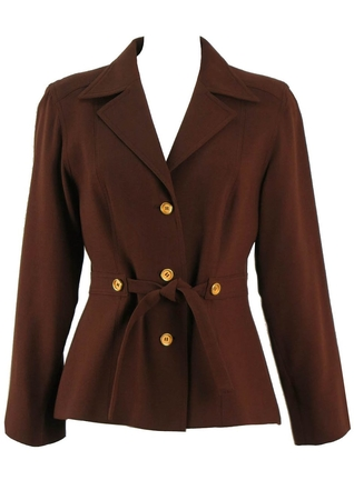 Chocolate Brown Jacket with Gold Buttons & Tie Front Belt - M