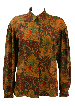 Horse & Hounds Hunting Themed Blouse in Burgundy, Ochre & Green - M