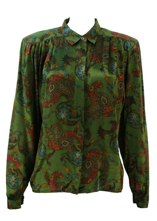 Woodland Green Long Sleeved Blouse with Heraldic Print - L