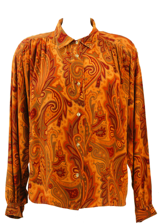 Pleat Detail Blouse with Paisley Print in Burgundy, Ochre & Olive Green - L